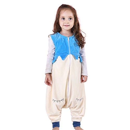 Michley Baby Girl Boy Flannel Wearable Blanket,Lightweight Sleeveless Sleeping Bag with Feet 1-2.5T (Sky Blue)