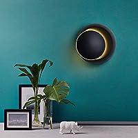 WCD 壁取り付け用燭台シンプルでクリエイティブモダンなベッドサイドランプ寝室リビングルーム階段通路LED丸い三日月形壁ランプ常夜灯360°回転(14147CM)ステップライト(カラー:ブラック)ブラック