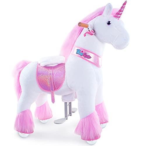PonyCycle Oficial Clásico Modelo U 2021 Montar a caballo Animal que camina Juguete de peluche unicornio rosa con ruedas y freno para niños de 4 a 9 años pequeño Ux402