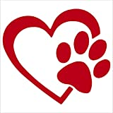 pet DECALS Heart with Dog PAW Puppy Love 4'...
