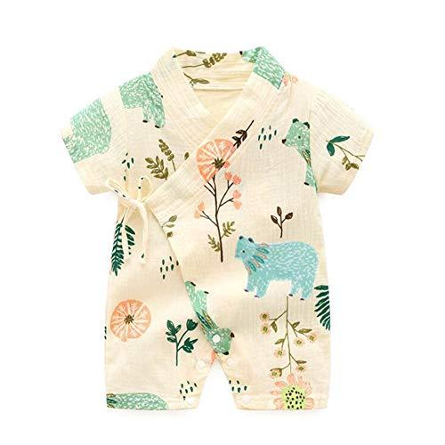 Camisa del Bebé Dormir Set Verano Japonesa Pijamas Pijama para Bebé Infantil Mono Algodón Kimono Estilo Japonés Ropa (H Bear,90cm)