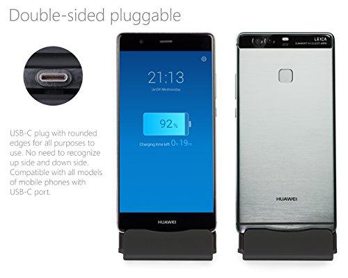 MyGadget Dockingstation Ladestation [USB C] für Android Smartphones - Halterung Dock für z.B. Samsung Galaxy S10 S9 S8, Note 9 8, Huawei P20 Pro - Schwarz - 3