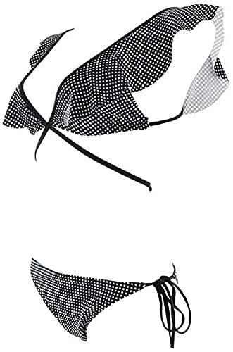 Modischer Badeanzug Frauen Sexy Bikini Set, V-Ausschnitt Wrap Brust Dame Romantischer sexy Split Badeanzug (Color : As Shown, Size : M)