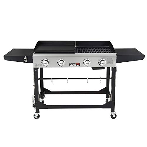 Royal Gourmet GD401 Portable Propane Gas Grill and Griddle Combo,4-Burner,Griddle Flat Top, Folding Legs,Versatile Outdoor Camping Stove with Side Table,Black