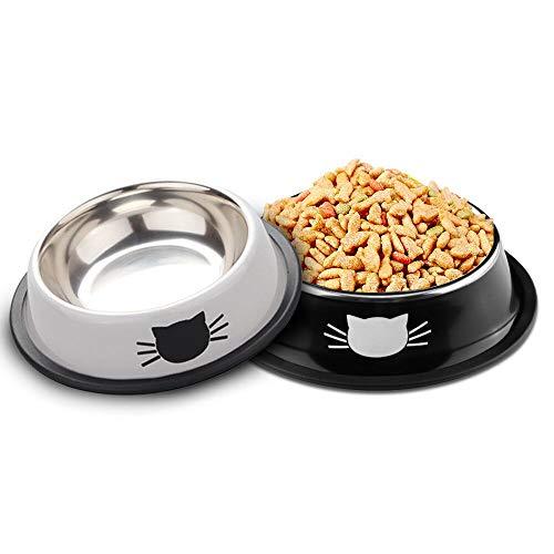 SaponinTree Cuencos para Gatos, 2 Piezas Cuencos Antideslizantes de Acero Inoxidable Comida Cuencos para Gatos, Cuencos Agua Comida Alimentación Platos para Mascotas, Perros, Gatos