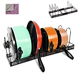 MASTERTOP Soporte para Sartenes Organizador de Sartenes y Ollas con 7 Compartimentos Estante Ajustable de Metal Cromado a 58,5CM para Tapa, Cocina