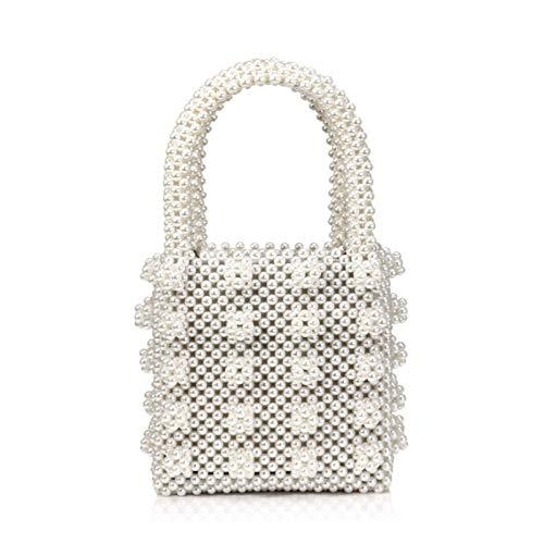 Serious Lamp Bolso de Perlas para Mujer Bolsa Tejida Bolso de Lujo Bolso de Cuentas Hecho A Mano Bolsa de Fiesta Vintage Tote Bag