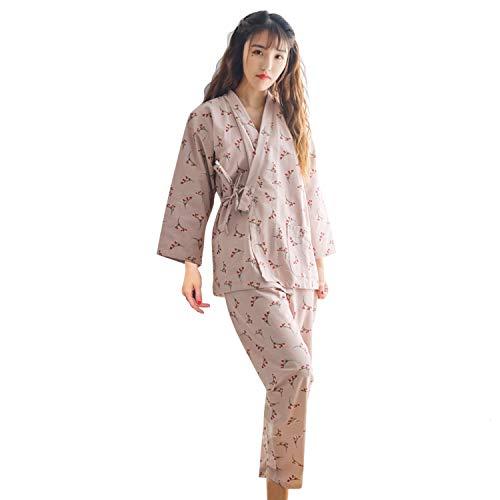 Pyjamas Damen Japanischer Kimono Set Baumwolle Schlafanzug Blumen Pyjamahose Nachtwäsche Freizeithose Negligee Nachthemd V-Ausschnitt Lingerie Gammelhose Locker Sleepwear Umstandskleid mit Tasche