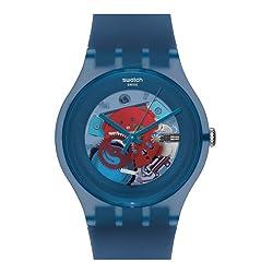 commercial Swatch Unisex SUON102 Blue Dial Skeleton Quartz Plastic Watch swatch dive watch