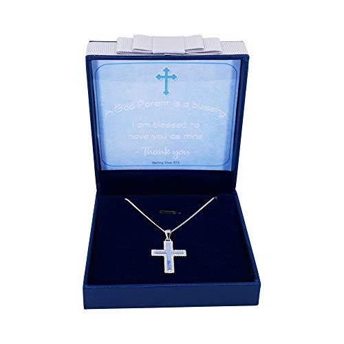 Sincerelyforyou Pendentif croix en argent sterling pour baptême Chaîne gourmette 45,7 cm