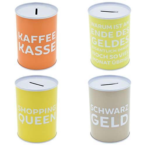 Hucha de 4 unidades con texto en alemán · Hucha para el mostrador · Hucha de café y dinero para beber · Hucha de lata