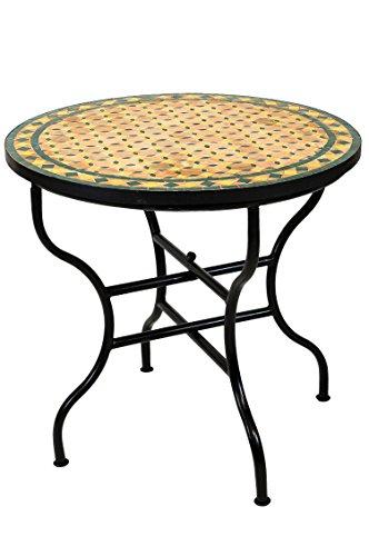 ORIGINAL Marokkanischer Mosaiktisch Gartentisch ø 80cm Groß rund klappbar | Runder klappbarer Mosaik Esstisch Mediterran | als Klapptisch für Balkon oder Garten | Giralda Beige Gelb Grün 80cm