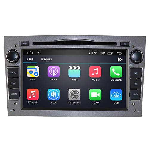 Reproductor de DVD para Coche Android 10 para Opel Combo/Astra H/Vivaro/Zafira, Radio de Coche Doble DIN con Pantalla de 7 Pulgadas Compatible con iOS Android Mirror-Link Bluetooth (Gris)