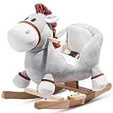 Sansund Balancín de madera con cinturón de seguridad, columpio de peluche, para niños y bebés