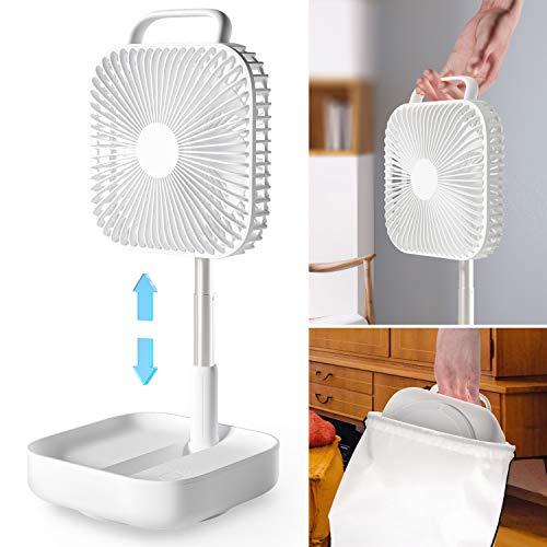 Ventilator leise Turmventilator Standventilator Faltbar Höhenverstellbar Tischventilatoren Mobile klimageräte Bodenventilator USB Luftkühler für Zuhause und Büro