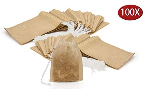 Granny's Kitchen Set de 100 Sachets à Thé Vides - Sacs Jetables Bio Multi Usage pour Herbes Feuilles Vrac - Filtre Papier Non Blanchi avec Cordon de Serrage