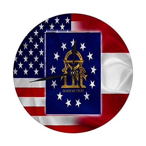 nobrand Reloj de pared redondo con diseño de la bandera de los Estados Unidos y del Estado decorativo para casa, oficina, escuela de 9,8 pulgadas