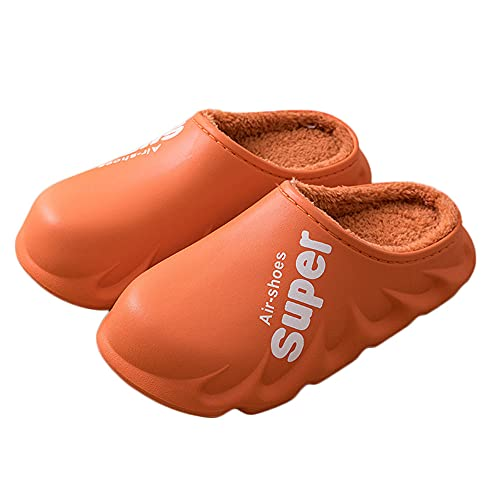 REXFS Zapatillas Impermeables para Hombre y Mujer, Zuecos Cálidos con Forro Difuso, Zapatos De Jardín De Invierno, Zapatillas Cálidas para Casa, Mulas para Interior y Exterior (40-41,Orange)