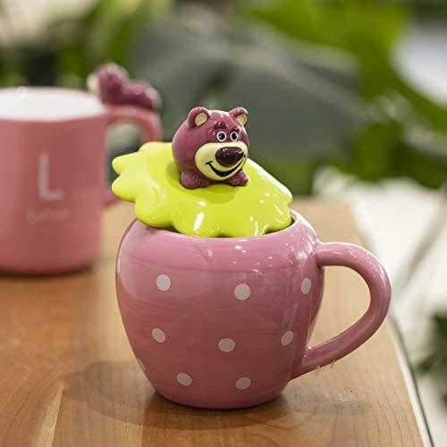 HRDZ Taza de cerámica del hogar del Oso de Fresa Rosado en Relieve Tridimensional con la Tapa Taza Linda Taza de Agua de la Muchacha