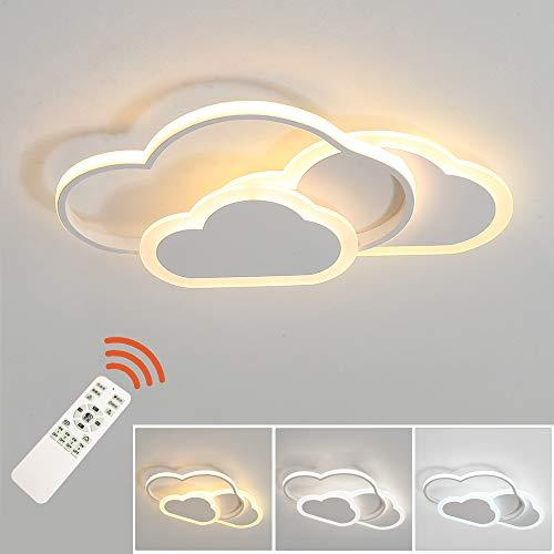 LED Deckenleuchte, Kreative Wolken Deckenlampe, 32W 2700lm 42cm, mit dimmbarer Fernbedienung 3000-6500K, moderne weiße Deckenleuchten Wandleuchte für Wohnzimmer Schlafzimmer Flur und Kinderzimmer