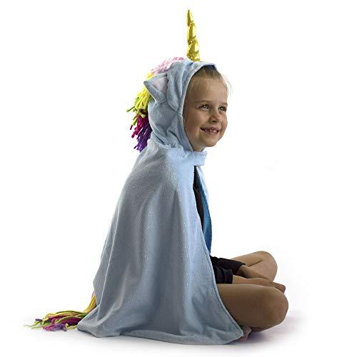 Den Goda Fen - F9857  Capa de unicornio con capucha  3  9 aos, 98  134  Azul  Capa de peluche con unicornio y orejas  Disfraz de unicornio