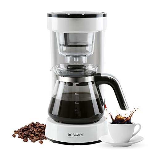 BOSCARE 5-Cup Coffee Maker with Reusable Filter,Small Drip Coffeemaker Compact Coffee Pot Brewer Machine,Auto-shut off,White,CM1172