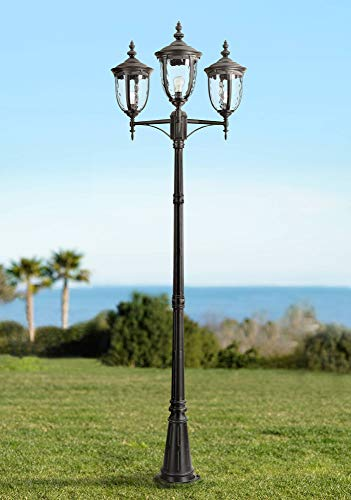 Bellagio Traditional Outdoor Post Light European Street Lantern 3 Light Texturized Black 96' Clear Hammered Glass for Exterior House Garden Yard Driveway Walkway - John Timberland