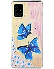 TYWZ Schattig kunsthoesje voor Samsung Galaxy A02S, vrouwen mannen abstracte fantasie trippy olieverfschilderij stijlvolle cover Bumper-vlinder
