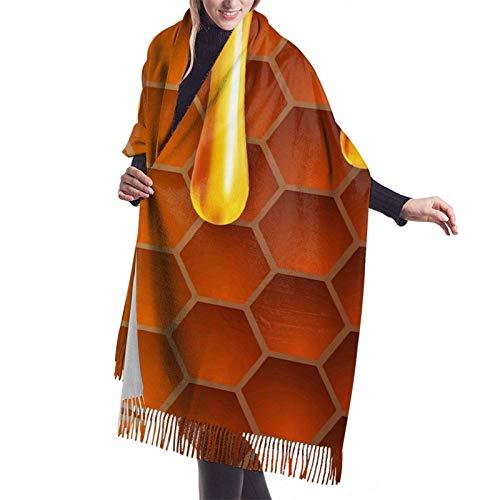 Bufanda larga y cálida y suave Otoño Invierno Abrigo de primavera Hexágonos dorados y chales ligeros y líquidos piel Bufandas de cachemira adolescentes y adultos