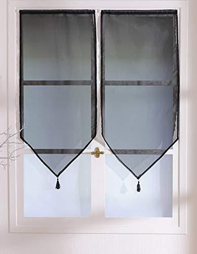 Enjoy Home 2 voiles Pointes à Pompons 60 x 90 cm LUTHEO Coloris Noir