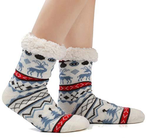 Warm Fleece Lined Winter Soft Slipper Socks Christmas With Non Slip Men's Women (Women 6-12; Men 5-10, Deer Blue)