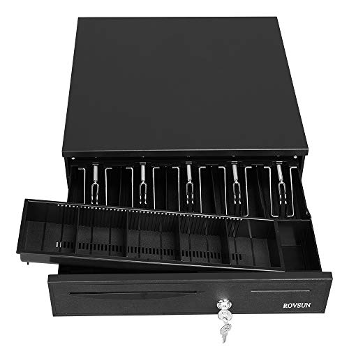 ROVSUN Cash Drawer Register for Point of Sale 5 Bill/5 Coin, POS System Media Slot, Removable Coin Tray, Key-Lock, Stainless Steel Money Storage Box