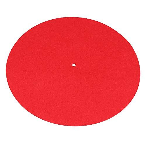 Yibuy Filzmatte für Plattenspieler, 300 mm Durchmesser, antistatisch, Rot