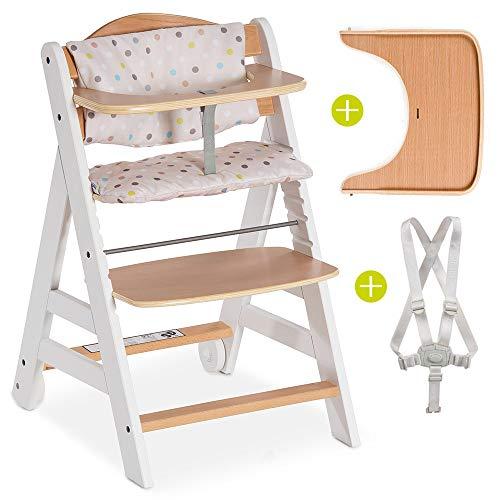 Hauck Beta Plus - Trona de madera evolutiva bebés, incluye cinturón, bandeja para comer, cojín gratis y ruedas, altura regulable, hasta 90 kg - color blanco natural