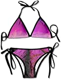 Romantic Lavender Field Hot Air Balloon Bikini Women's Summer Swimwear Triangle Top Bikinis Swimsuit Sexy 2-Piece Set