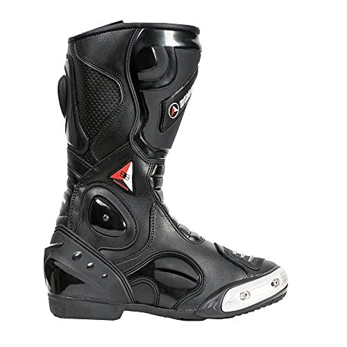 Bohmberg - Botas de moto, botas de piel deportivas, impermeables, de cuero estable protectores rígidos integrados - 43