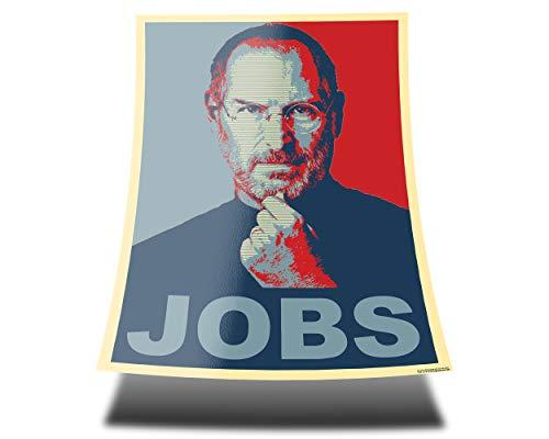 GREAT ART Red and Blue Poster – Steve Jobs mit Schriftzug Jobs – A1 84,1 x 59,4 cm – Portrait Wandposter Steve Jobs Gründer von Apple, Rotblaues Wandbild Illustration Wand Deko