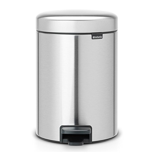 Brabantia Newicon-Cubo de Basura con Pedal, 3 l, Color Fpp Inoxidable, Acero Mate Anti-Huellas