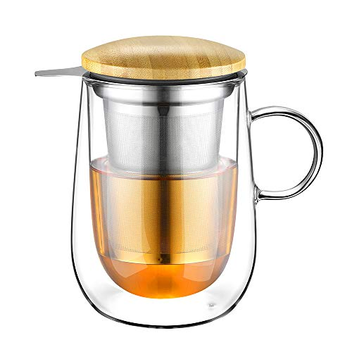 Glastal 430ml Taza de té de vidrio de doble pared con colador...