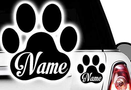 HR-WERBEDESIGN Wunschname Pfote, Dog, Cat, Katzenpfote Hundepfote vvv Namen Aufkleber Sticker