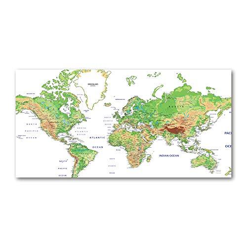 Tulup Glas-Bild Wandbild aus Glas - Wandkunst - Wandbild hinter gehärtetem Sicherheitsglas - Dekorative Wand für Küche & Wohnzimmer 120x60 - Landkarten & Flaggen - Weltkarte - Grün