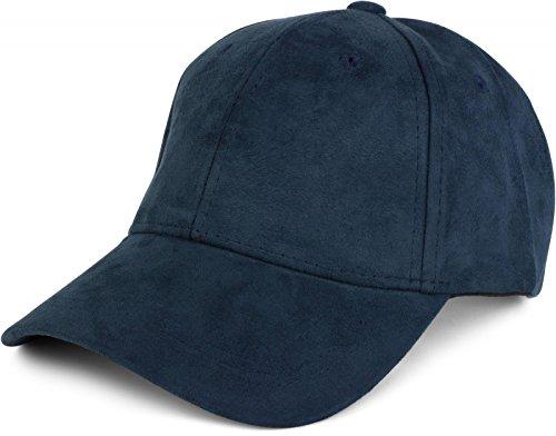 styleBREAKER 6-Panel Cap in Veloursleder, Wildleder Optik, Baseball Cap, verstellbar, Unisex 04023049, Farbe:Navy