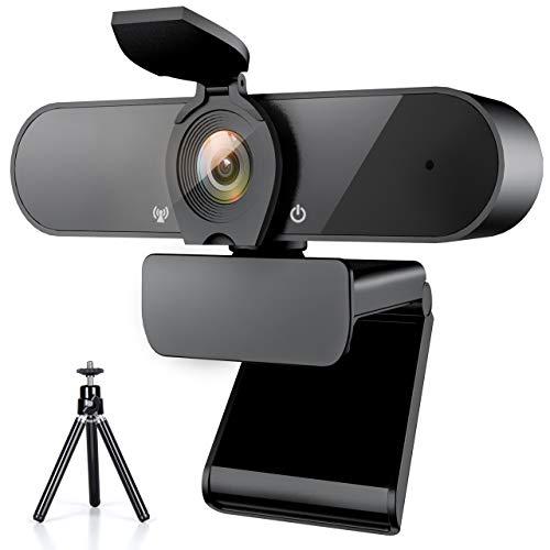 THUSTAR Webcam 1080P, Caméra Web avec Microphone et Trépied et Couvercle de Confidentialité, Webcam pour Ordinateur Portable Full HD Webcam Panoramique à 360 Degrés pour I'enregistrement, Les Appels