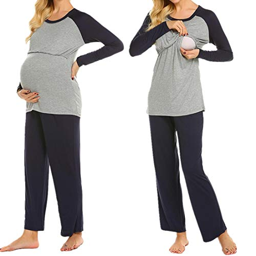MAXMODA Pyjama d'allaitement de maternité Femme en Double Couche Bleu Marine XXL