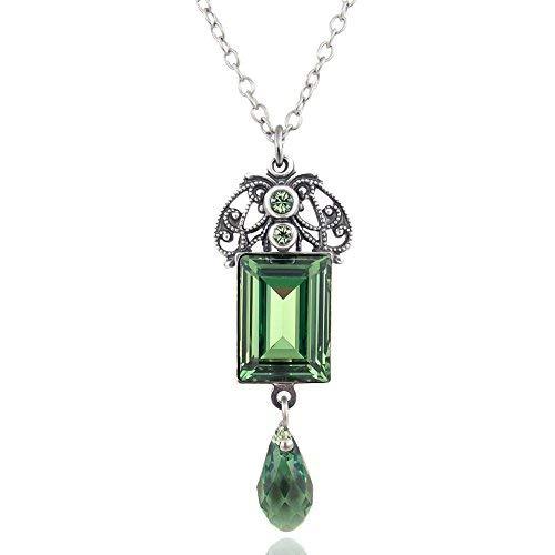 nobel-schmuck Jugendstil Kette Grün mit Kristalle von Swarovski Silber Erinite