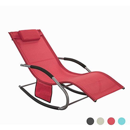 SoBuy OGS28-R Fauteuil à Bascule Chaise Longue Transat de Jardin avec Repose-Pieds, Bain de Soleil Rocking Chair - Rouge