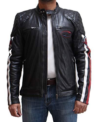 Chaqueta de Cuero de Carreras Acolchada para Hombre con Rayas Blancas y Rojas. Disponible en Negro, Azul y Tostado