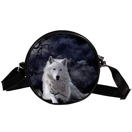 Bennigiry Wolf Raven - Borsa a tracolla rotonda da donna