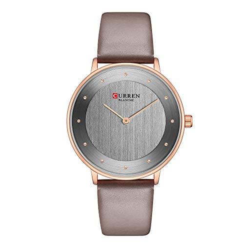 TWISFER Damenuhr Einfache Mode Analog Uhr Lederband Edelstahl Zifferblatt Wasserdicht Uhren Business Casual Armbanduhr für Damen