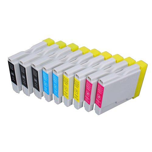 9 Multipack de alta capacidad Brother LC-1000 , LC-970 Cartuchos Compatibles 3 negro, 2 ciano, 2 magenta, 2 amarillo para Brother DCP-110C, DCP-115C, DCP-117C, DCP-120C, DCP-130C, DCP-135C, DCP-150C, DCP-153C, DCP-310CN, DCP-315CN, DCP-330C, DCP-340CW, DCP-350C, DCP-353C, DCP-357C, DCP-540CN, DCP-560CN, DCP-750CW, DCP-770CW, FAX-1355, FAX-1360, FAX-1460, FAX-1560, FAX-1835C, FAX-1840C, FAX-1940CN, FAX-2440C, HL-1230, HL-1430, HL-1440, HL-1450, HL-1470N, HL-1650, HL-1670N, HL-1850, HL-1870N, HL-2460, HL-7050, HL-7050N, MFC-210C, MFC-215C, MFC-235C, MFC-240C, MFC-260C, MFC-3240C, MFC-3340CN, MFC-3360C, MFC-410CN, MFC-425CN, MFC-440CN, MFC-465CN, MFC-5440CN, MFC-5460CN, MFC-5840CN, MFC-5860CN, MFC-620CN, MFC-640CW, MFC-660CN, MFC-680CN, MFC-820CW, MFC-845CW, MFC-885CW, MFC-885CW. Cartucho de tinta . LC-1000BK , LC-1000C , LC-1000M , LC-1000Y , LC-970BK , LC-970C , LC-970M , LC-970Y  123 Cartucho